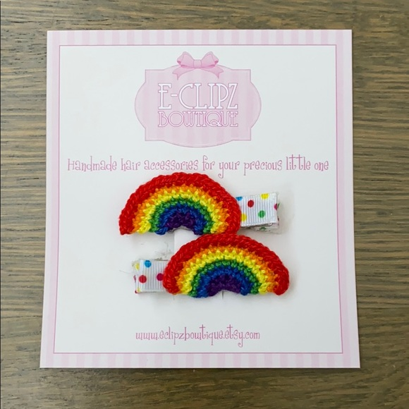 Other - New handmade crochet rainbow pair of hair clips